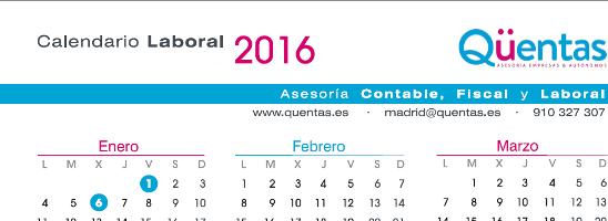 calendario laboral 2016
