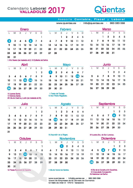 Calendario laboral Valladolid 2017