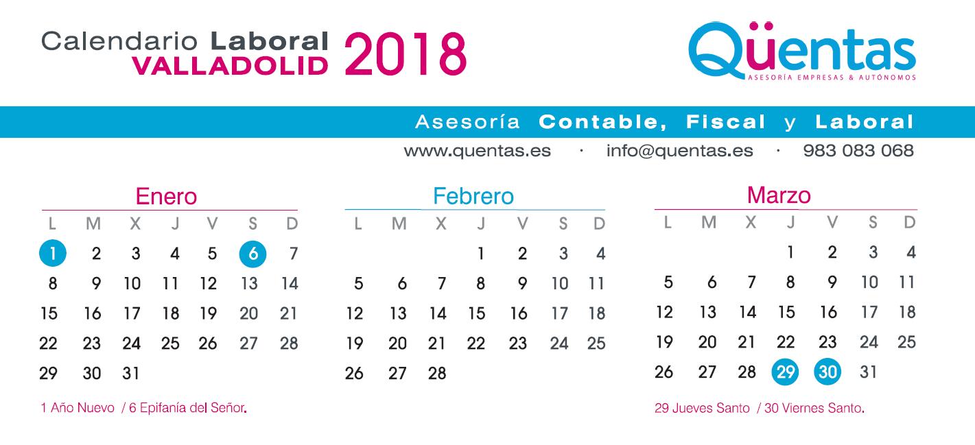 Calendario Laboral Valladolid.Calendario Laboral De Valladolid 2018