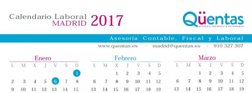Calendario laboral Madrid 2017