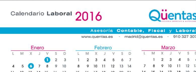 Calendario laboral 2016 Madrid